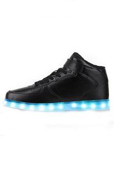PU monochrome Noir,Grossiste Chaussure Lumineuse Montante Led Noir