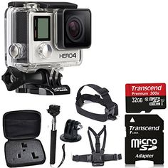GoPro HERO4 SILVER Edition Camera HD Camcorder With Deluxe Carrying Case + Head Strap + Chest Strap + Monopod + 32GB SDHC MicroSD Memory Card Complete Deluxe Accessory Bundle PHOTO4LESS