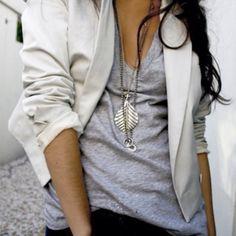 Blazer casual tee slub silver chunky jewelry hip cool...