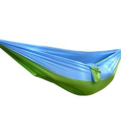 Wayer Portable Camping Hammock 10255 Inch Lightweight Parachute Nylon Fabric Comfortable for 2 People for Hiking Boating Sleeping Backpacking Climbing GreenBlue * Check this awesome product by going to the link at the image. (This is an affiliate link) #CotsandHammocks