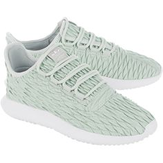 ADIDAS ORIGINALS Tubular Shadow Linen Green // Quilted synthetic... ($93) ❤ liked on Polyvore featuring shoes, sneakers, faux leather shoes, vegan leather shoes, quilted sneakers, quilted shoes and structure shoes