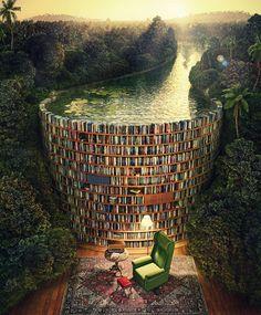 """Superbe réplique de """"Bible Dam"""" de Jacek Yerka, par Bruno Bruschi illustrateur brésilien ==> http://www.imaginatta3d.com.br/"""