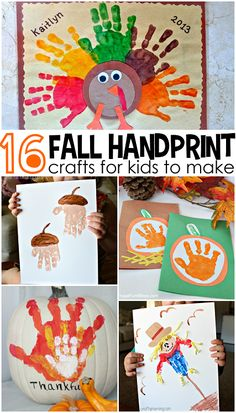 Fall Handprint Craft Ideas for Kids (Find pumpkins, acorns, turkeys, and more!) (fall crafts for kids pumpkin) Fall Preschool, Preschool Crafts, Fun Crafts, Kindergarten Thanksgiving, Preschool Kindergarten, Rock Crafts, Preschool Learning, Decor Crafts, Thanksgiving Crafts For Kids