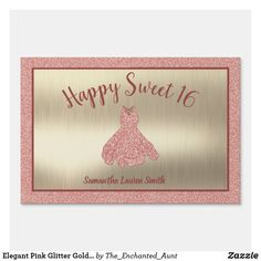 Elegant Pink Glitter Gold Happy Sweet 16 Yard Sign