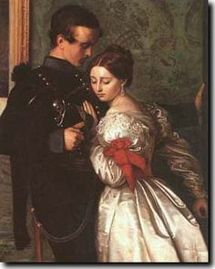 """Not """"Queen Victoria (Alexandrina Victoria) (1819-1901) & husband Prince Albert (Albert Francis Charles Augustus Emmanuel) (1819-1861) of Saxe Coburg"""" The Black Brunswicker (1860) is a painting by John Everett Millais. It was inspired in part by the exploits of the Black Brunswickers, a German volunteer corps of the Napoleonic Wars, during the Waterloo campaign."""