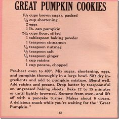 What's the appropriate snack to eat when you're getting the family ready for Halloween? Great Pumpkin cookies, of course! Great Pumpkin Cookies A delicious snack while you're waiting for the Retro Recipes, Old Recipes, Vintage Recipes, Cookbook Recipes, Baking Recipes, Recipies, Pumpkin Cookie Recipe, Pumpkin Cookies, Pumpkin Recipes