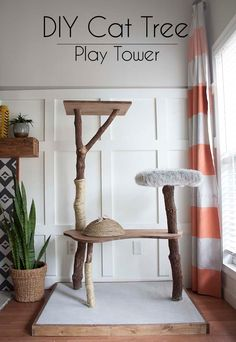 Cat Play Tower, Diy Cat Tower, Homemade Cat Tower, Cat Tree House, Cat House Diy, Cat Tree Condo, Cat Condo, Niche Chat, Cat Tree Plans