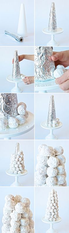 Tutorial of Frozen Birthday Cake, DIY Snowball Tower for Kids Birthday Party, DIY Holiday Party Favors