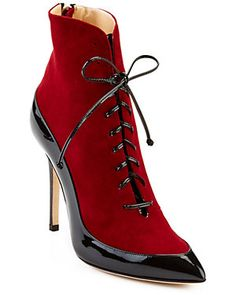 "CARMEN MARC VALVO ""Belle"" Suede & Patent Bootie -    Burgundy suede bootie with black patent leather paneling and stiletto heel Lace-up with center back zippered closure Leather insole Leather sole Approximate 4in heel"