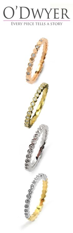 Juliet Round - 18ct gold rings with diamonds in variations. Vigselring Förlovningsring