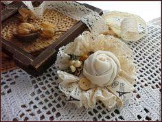 Купить Брошь Французские сливки - бежевый, айвори, экрю, брошь, сливки, французские сливки
