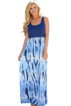 Robe Longue Boheme Bleu Impression Tie Dye Sans Manches Pas Cher www.modebuy.com @Modebuy #Modebuy #Bleu