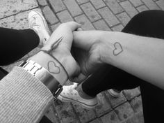 Super cute husband and wife tattoo idea. Simple yet so lovely...