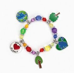 """Save Our Planet Charm Bracelet Craft Kit :   Celebrate by wearing this fashionable """"Save the Planet"""" charm bracelet. Adorned with """"earth-friendly"""" charms and brightly colored plastic beads, these """"going-green"""" bracelet craft kits make excellent craft projects."""