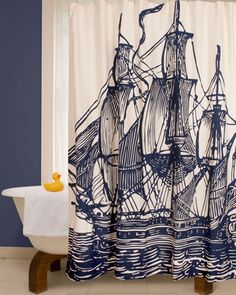 Thomas Paul shower curtain. Wonder if I could use this as a regular curtain in Sawyer's pirate room...