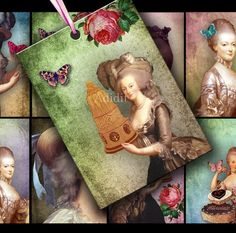 Let Them Eat Cake Marie Antoinette ATC ACEO or Jewelry Holders 2.5 X 3.5 inch - Adidit digital collage sheet 050
