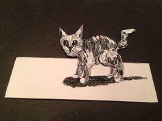 "3d CAT Optical illusion.  original Art Card by Jack Larson. 2.5""/3.5"""
