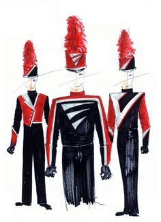 CUSTOM DESIGNS We believe that great design is not just a fresh, new idea. The perfect custom design should reflect all aspects of your group's identity and Marching Band Shows, Marching Band Uniforms, Color Guard, Custom Design, Costumes, Rye, Music, Bands, Outfits