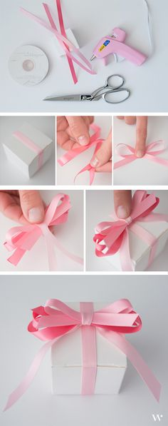 Pretty in pink - this DIY favor will have your guests absolutely delighted! See how to create this and 4 more looks in our newest DIY wedding tutorial: http://blog.weddingstar.com/diy-wedding-wednesday-white-box-satin-ribbon-endless-possibilities/