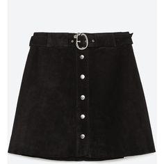 Zara Leather Skirt (210 HRK) ❤ liked on Polyvore featuring skirts, bottoms, black, faldas, leather skirt, knee length leather skirt and zara skirt