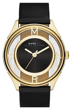 MARC BY MARC JACOBS 'Tether' Skeleton Leather Strap Watch, 36mm available at #Nordstrom