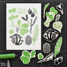 """""""Carved and printed a few things from a recent nature walk"""""""