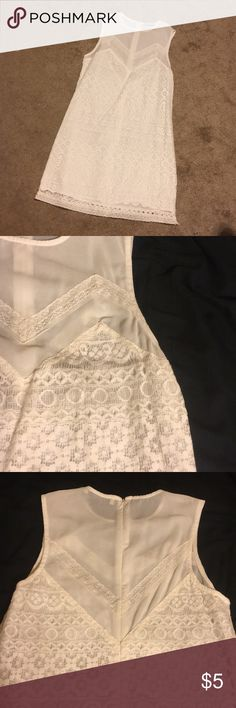 White Lace dress White lace dress; semi fitted, accents curves well. Worn only 2 times. Wish it still fit me! Dresses