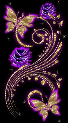 By Artist Unknown. Flower Phone Wallpaper, Purple Wallpaper, Butterfly Wallpaper, Butterfly Art, Love Wallpaper, Cellphone Wallpaper, Wallpaper Backgrounds, Flower Art, Iphone Wallpaper