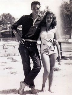 Looking cool and confident with Rosemary Barracco (Carvalho) at Maywood Beach in May of 1953 (probably between May 25-29) - Maywood Beach is located south of Memphis (I78 to Tupelo), just below the stateline