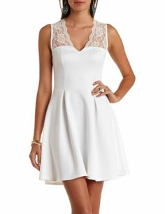 Lace Yoke Pleated Skater Dress: Charlotte Russe