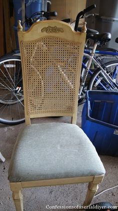 Chair remodel. Shared from http://www.confessionsofaserialdiyer.com/garage-sale-chair-makeover/#comment-21291