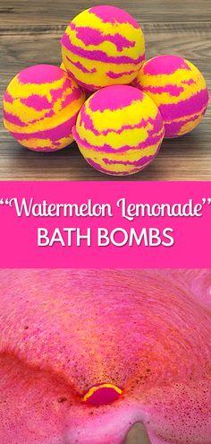 """Watermelon Lemonade"" bath bomb tutorial."