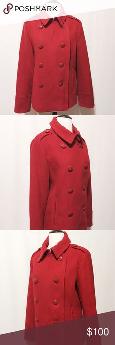 "✨ FLASH SALE ✨ Red Wool Pea Coat I saw this and fell in love, but when your coats occupy the entire coat closet clearly didn't need it. (working on okay trying to work on self control) Heavy weight pea coat. Double breasted with dye to match anchor buttons, welted pockets, interior breast pocket, shoulder epaulets with buttons, two pleats in the back, back waist tab details. Extra buttons , fully lined in leopard print. 55% Wool 30% Poly 15% Rayon 100% Poly lining Dry Clean Only 44"" bust 41""…"