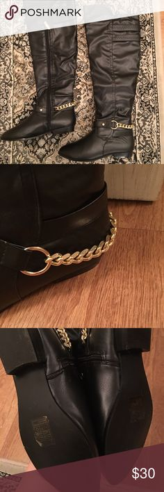 Over the knee black boots with chain detail (Tagged Steve Madden for exposure only) OTK black faux leather boots with gold chains on the ankles - eye catching & very cute. Pairs perfectly with leggings and a slouchy sweater. Boutique brand boots. Wore these once, so they're basically in brand new condition! True to size with a half inch heel. No trades. Steve Madden Shoes Over the Knee Boots