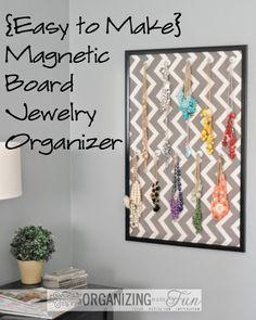 {Easy to Make} Magnetic Board Jewelry Organizer :: OrganizingMadeFun.com