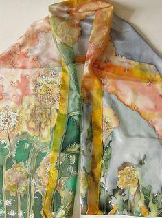 Silk scarf with hand painted orange ranunculus flowers on it - silk shawl - silk…