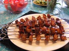 Garlic Balsamic Pork Kabobs by Once a Month Mom | OAMC from Once A Month Mom