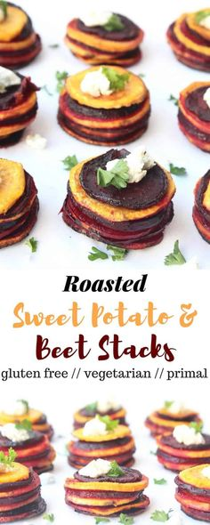 These Roasted Sweet Potato & Beet Stacks make a fun, easy, and healthy side dish for your holiday get-togethers - Eat the Gains (Sweet Potato Noodle Recipes) Healthy Side Dishes, Healthy Sides, Vegetable Side Dishes, Side Dish Recipes, Dishes Recipes, Vegetable Recipes, Tapas Recipes, Noodle Recipes, Potato Recipes