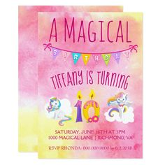 Unicorn 10th  birthday party pink card Pretty #beach themed #weddinginvitations - Make your wedding day super special with these custom #beachtheme #invitations and #stationary