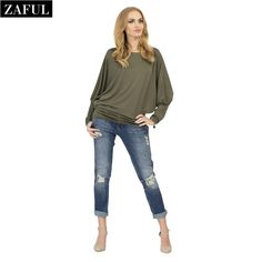 Aliexpress.com : Buy ZAFUL New Autumn Women Tops Long Batwing Sleeves Cotton Spandex T Shirt Sexy Casual Loose Solid Color T Shirts Plus Size Kawaii from Reliable t-shirt neon suppliers on ZAFUL | Alibaba Group