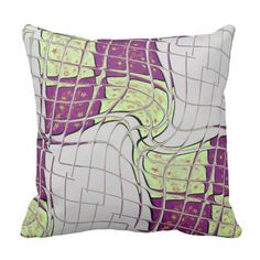 Retro Purple and Green Psychedelic Throw Pillow