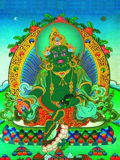 The Green Jambhala 綠財神, is thought to be a form of the Buddha Akshobhya (who reigns over the eastern paradise). He is usually shown in tight embrace with his consort and carrying a jewel producing mongoose in his left hand. He is actually blue in color. The Green Jambhala made a sacred vow witnessed by Buddha Sakyamuni that he would protect anyone who chanted his Mantra.