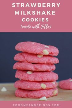 These Strawberry Milkshake Cookies really do taste just like a strawberry milkshake! Made with white chocolate chips and strawberry jello, these cookies make a great Valentine's Day cookie, bake sale cookie or an anytime snack or dessert! Jello Cookies, Peanut Cookies, Jam Cookies, Cookies Et Biscuits, Pudding Cookies, Sandwich Cookies, Strawberry Cookies, Strawberry Jello, Strawberry Milkshake