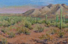 8.5X5.5 oil on paper. Freight train from Picacho Peak S.P., Tucson