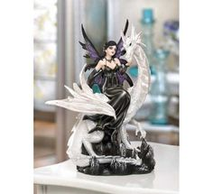Night Tide Fairy Figurine With Pearl White Dragon $39.95