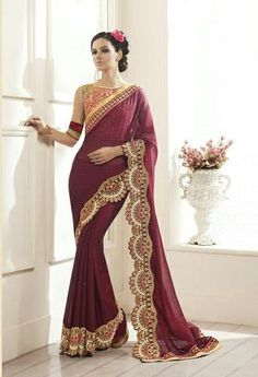 Maroon Georgette Sarees Purchase Online ,Indian Dresses - 1