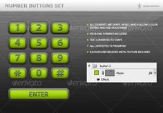 Number Buttons Set