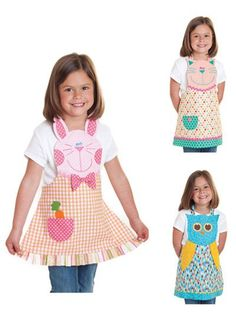 Sewing Projects For Children - Love This : Fun Friends Apron sewing pattern from Cotton Ginnys Sewing For Kids, Baby Sewing, Sewing Hacks, Sewing Crafts, Sewing Tips, Child Apron Pattern, Childrens Aprons, Sewing Aprons, Kids Apron
