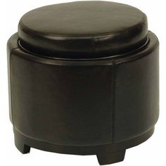 Safavieh Round Beechwood Bicast Leather Upholstered Storage Tray Ottoman, Multiple Colors, Black