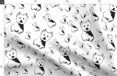 Items similar to West Highland Terrier Fabric By The Yard, Westie Dog Fabrics For Baby Blanket, Black White Puppy Fabrics Nursery Decor, Ships From US or EU on Etsy Highlands Terrier, West Highland Terrier, Westie Dog, Westies, Tie Blankets, White Puppies, Double Gauze Fabric, Reusable Bags, Burp Cloths